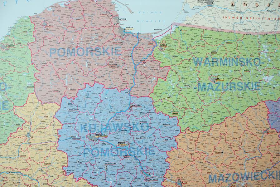 Mapa Administracyjna Polski Podzial Mapy Scienne Z Kodami